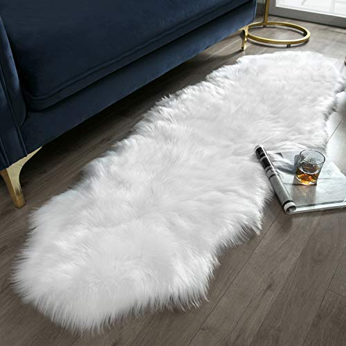 Fireside Drapes - Ashler Soft Faux Sheepskin Fur Chair Couch Cover White Area Rug for Bedroom Floor Sofa Living Room 2 x 6 Feet