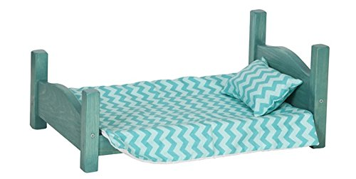 18'' Heirloom Doll Bed with Bedding USA Handmade, Turquoise by Clip Clop