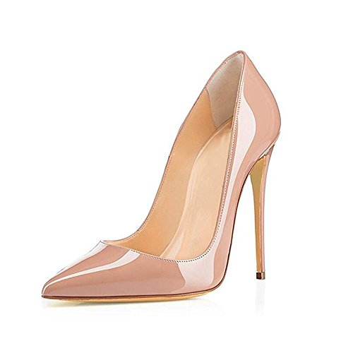 Heel Women GENSHUO Shoes Dress High Patent Pumps Toe Slip Sexy Pointed Apricot Fashion Stiletto On Xdr7pd