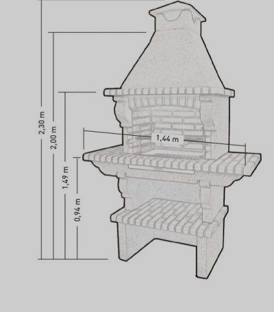 barbacoa en cemento y ladrillo refractario para jardin mod. 037109: Amazon.es: Hogar
