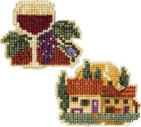 2 Item Bundle - Counted Glass Bead Kit with Charms: Wine Glass and Tuscan Cottage