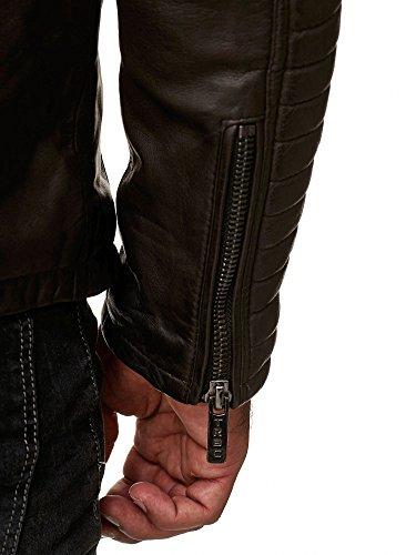 Echtleder In Pelle E Da Redbridge Stile Vera Giacca Cotone Con Uomo Braun Elementi Biker Trapuntati 8p6XwYqX