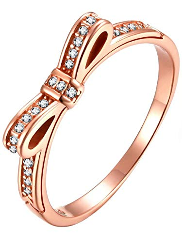 (Presentski Jewelry Rose Gold Bow Ring Sterling Silver Rings Birthday Gift)