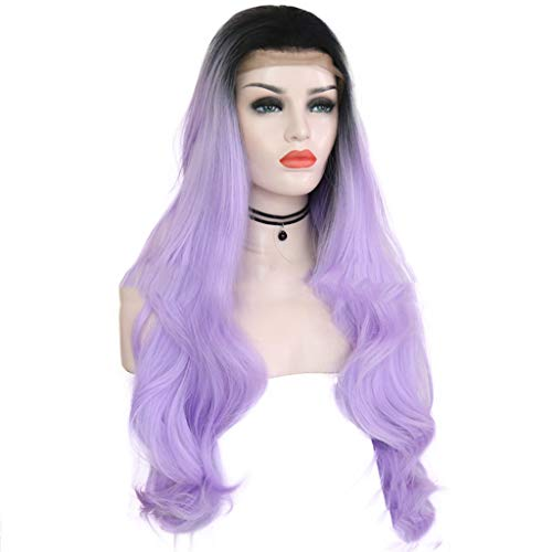 Women's Long Curly Wigs, Ladies Black Purple Heat Synthetic Baby Hair Natural Hairline Fiber Wig Cosplay Party (Black -
