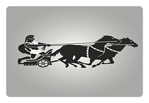 Ambesonne Toga Party Pet Mat for Food and Water, Mythological Chariot Gladiator with Horse Traditional Greek Culture Image, Rectangle Non-Slip Rubber Mat for Dogs and Cats, Dimgrey Black
