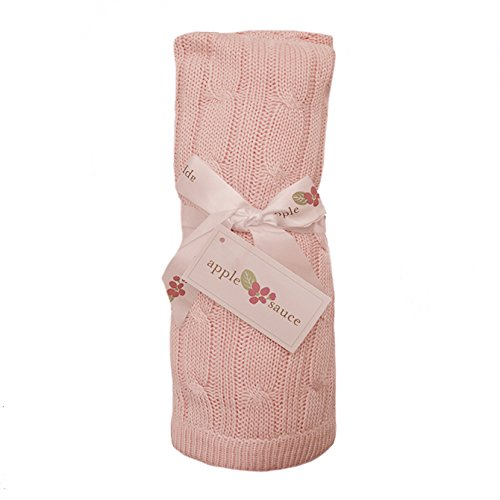 Elegant Baby Cable - Applesauce Cable Knit Baby Blanket, Pink