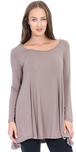 Popana Round Neck Long Sleeve Tunic Top XL Toffee - Made In - Brown Toffee Apparel