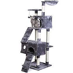 "PAWZ Road Cat Tree 68"" Cat Activity Tower Condo Stand with Deluxe Scratching Posts, Natural Sisals Grey"