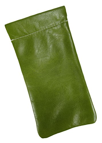 Mens and Womens Leather Eyeglass Holder Eyeglass Case USA Made (Distressed - Lime Green Eyeglasses