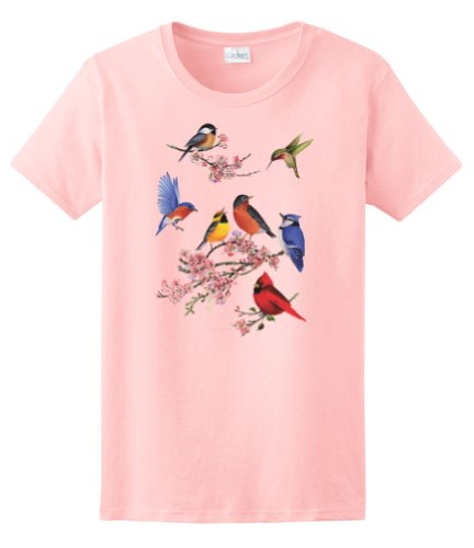 Express Yourself Ladies Songbirds of America Tee (Light Pink - Ladies (Bird Womens Light T-shirt)
