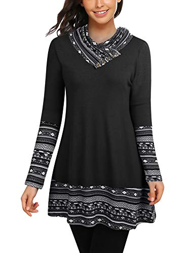 Bebonnie Tunic Tops for Leggings for Women, Womens Long Sleeve Cowl Neck Boho Patchwork Tunics Top Ladies Printed Swing Blouse Shirt Black Medium