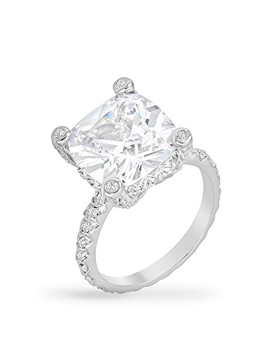 Rhodium Plated Engagement Ring with Huge 6.6 Carat Center Stone Accompanied with Round Cut CZ Size 5