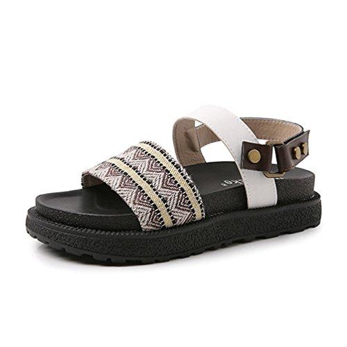Style Marron Femme Sandales 43 Ouvert Lin Arrière Été de Boucle Clouté Sandale pour Bout Chaussures JRenok Bride 34 qTH7MtA7p