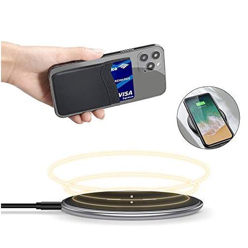 Phone Wallet, SHANSHUI Credit Card Holder for Black of Phone Wallet Stick On 2 Slots Pocket for Almost Smartphones |