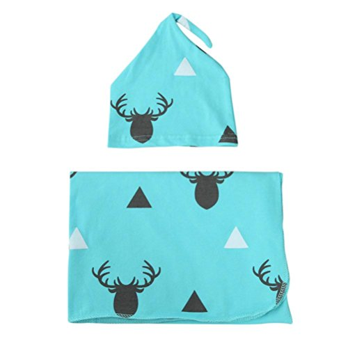Misaky Newborn Baby Deer Swaddle Blanket Sleeping Bag Muslin Wrap Headband Set (Blue)