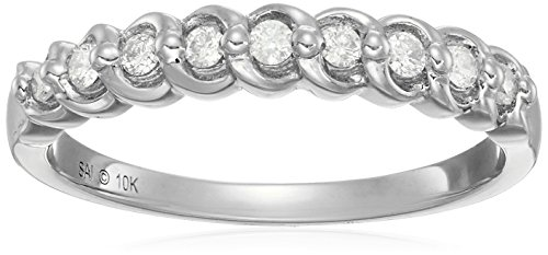 10k White Gold Diamond Swirl Ring (1/6cttw, I-J Color, I2-I3 Clarity), Size (Gold Diamond Swirl)