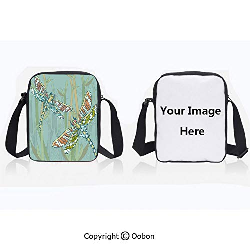 Polyester Anti-Theft Cross-Body Bag Unisex Adult Doodle Style Giant Dragonfly Figures on Lake Bushes Nature Exotic Picture Art Almond Green Zipper Bucket Anti Theft Bag For ()