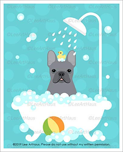 670D - Gray Blue French Bulldog in Bubble Bath Bathtub UNFRAMED Wall Art Print by Lee ArtHaus