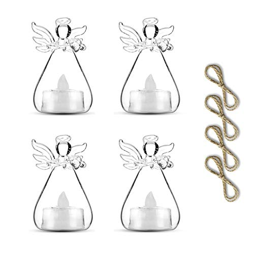 Sziqiqi Pack of 3 Hanging Glass Candle Holders Angel Candleholders with Led Tealight Candle Inside Votive Decoration for Wedding Party Restaurant Hotel Garden Decoration (3 Pcs + 1 Pcs) (Hanging Holders Tealight Small)