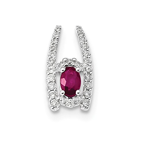 14k White Gold Diamond and Ruby Polished Chain (14k Ruby Slide)