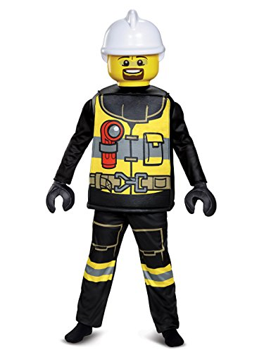 Disguise Lego Firefighter Deluxe Costume, Black/Yellow, Small (4-6)]()