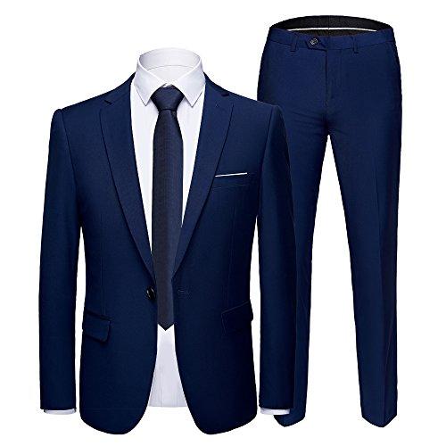 YIMANIE Men's Suit Slim Fit 2 Piece One Button Blazer Single Breasted Tuxedo Business Wedding Party Jacket&Trousers (Piece Set Five Tuxedo)