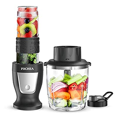 Fochea Smoothie Blender, Personal Blender with BPA-Free Travel Bottles, Multi-Function Kitchen System for Smoothies, Ice and Frozen Fruit