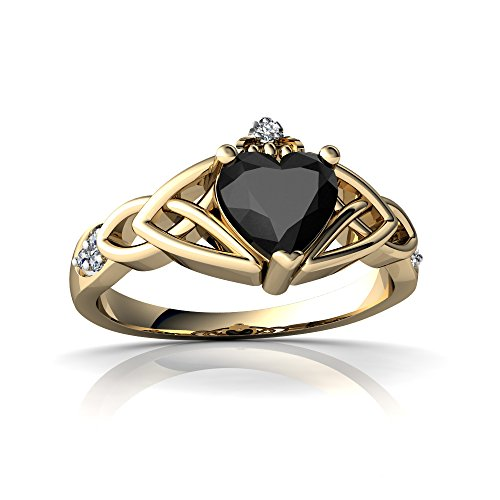 (14kt Yellow Gold Black Onyx and Diamond 6mm Heart Claddagh Trinity Knot Ring - Size 9)