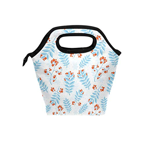 (My Little Nest Insulated Cooler Tote Lunch Bag Winter Berry Blue Leaves Work Picnic Food Organizer Lunchbox for Women Men Kids)