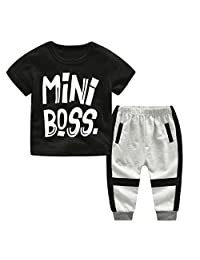 Iuhan Toddler Boys Outfit Set Baby Mini Boss Letter T Shirt Tops Long Pants Clothes