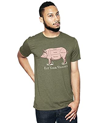 Headline Shirts Men's Green Eat Your Veggies Funny Paleo Food Graphic T-Shirt