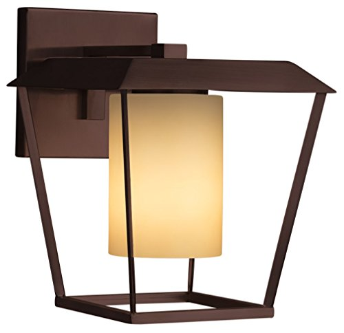 """Justice Design Group Lighting FSN-7554W-10-ALMD-NCKL Fusion Patina Large 1-Light Outdoor Wall Sconce Finish with Artisan Glass Almond-Cylinder with Flat Rim Shade, 9.5"""" W, Brushed Nickel"""