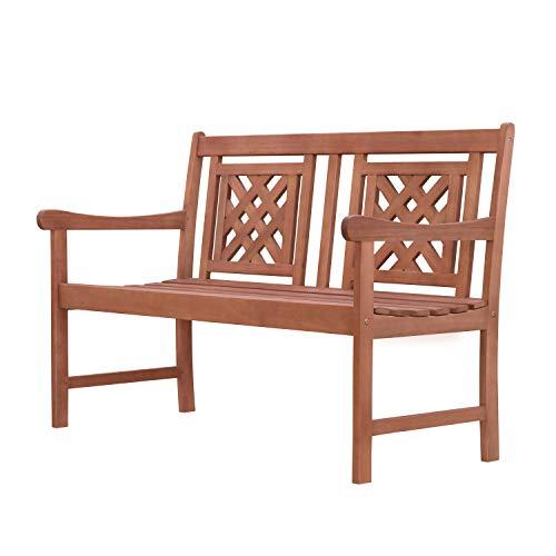 Vifah V1836 Tivoli Outdoor Patio Plaid 4-Foot Eucalyptus Hardwood Bench, Decorative, Natural Wood