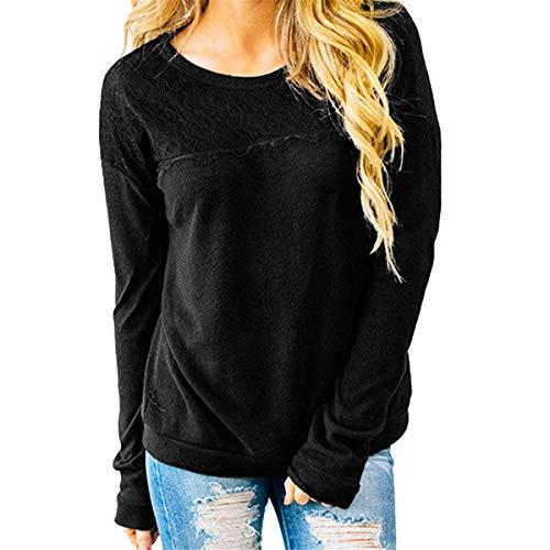 [해외]Thenxin Casual Long Sleeve Pullover Round Neck Lace Patchwork Ligtweight Sweatshirt T-Shirt / Thenxin Casual Long Sleeve Pullover Round Neck Lace Patchwork Ligtweight Sweatshirt T-Shirt(Black,XL)