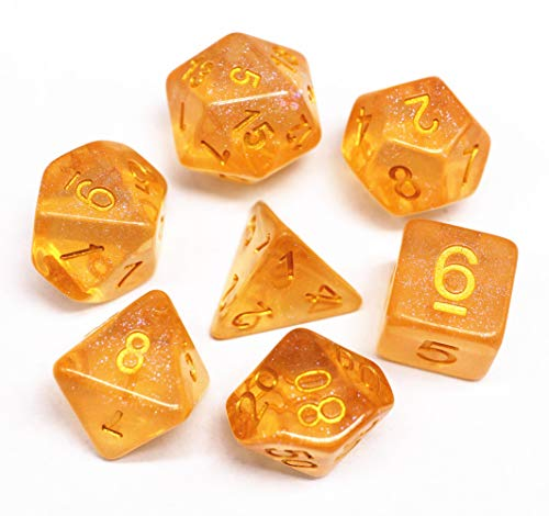DND Polyhedral Dice Set RPG Dice Compatible Dungeons and Dragons Pathfinder,D&D,MTG,Table Game,Role Playing Game Dice Orange Transparent Dice with Color Changing Glitter