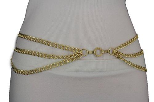 Ladies Metal Chain Belt (TFJ Women's Metal Chains Belt Hip High High Waist Chain Link Side Waves S M L)