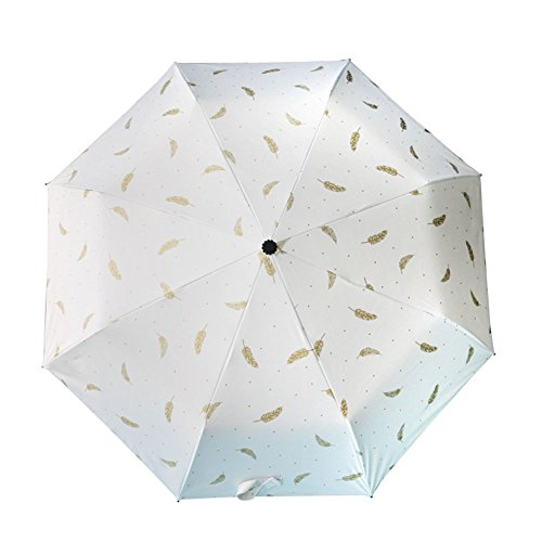 DCRYWRX Sun Umbrella Sunscreen UV Protection Black Plastic Compact Folding Travel Umbrella Small Fresh Umbrella Dual-Use,White by DCRYWRX