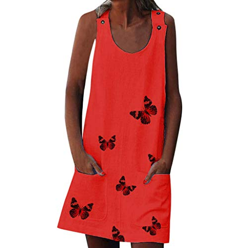 Bachelorette Party Dvd Game - Garish❤️Women's Vintage Boho Dress,Butterfly Print Dress with Button & Pockets Sleeveless Dresses for Womens Maxi Dress Red