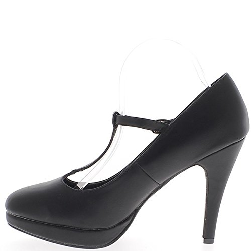 Zapatos de gran tamaño negro a puente de 12,5 cm plataforma y tacón de cuero y