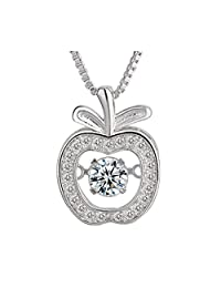 Spiritlele Dancing Stone Pendant Silver Cubic Zirconia Wings Heart Snowflake Apple Deer Necklace for Women