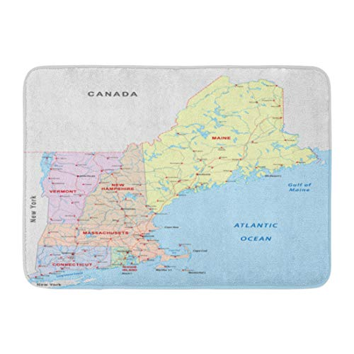 Emvency Doormats Bath Rugs Outdoor/Indoor Door Mat State New England Road Map Massachusetts Boston Canada Vermont Bathroom Decor Rug Bath Mat 16