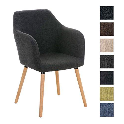 CLP moderner Besucher Design-Stuhl PICARD, Holzgestell, Stoffbezug, gut gepolsterte Sitzfläche dunkelgrau