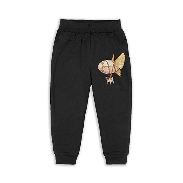 JAWANNA Steampunk Pug Printed Boy's Cotton Sweatpants, Age 2T-6T (2-6 Years) Black 3
