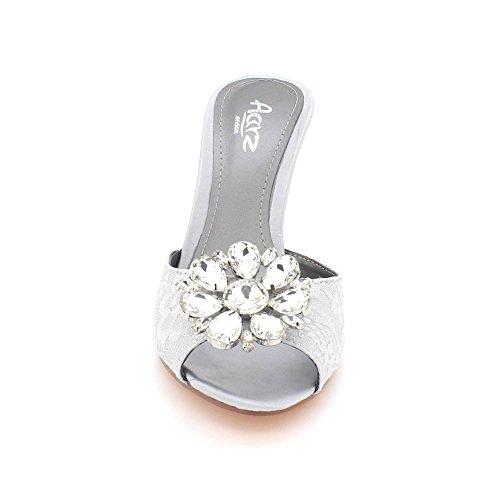 Zapatos Sandalias Tamaño Nupcial Bodas Peeptoe Gris Mujer De Fiesta Diamante Kitten Noche Paseo Cristal Señoras Heel SWwq6R7O