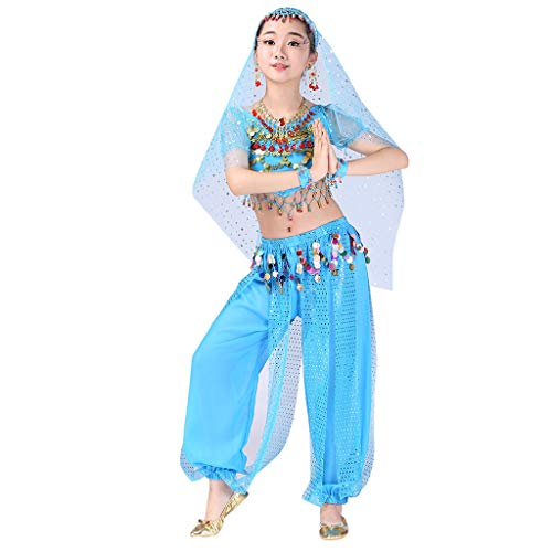 (Kids Girls Belly Dance Set Halter Top Harem Pants Costume Set Halloween Outfit with Head Veil Waist Chain and)
