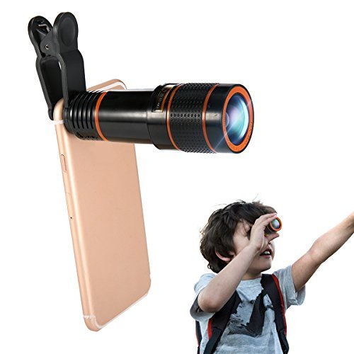 Phone Camera Lens Kit, Hizek 12X Universal Optical Zoom Lens Marco Lens Focus Telescope with Clip and Eyecups for iphone 8/7/6s/6/6 Plus/6s Plus Samsung Galaxy S8/S8 Plus/S7/S7e/S6/S5/Note5 from Hizek