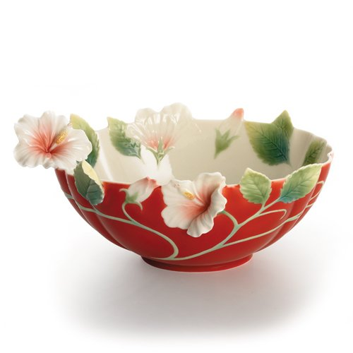 - Franz Porcelain Island Beauty Hibiscus Flower Bowl