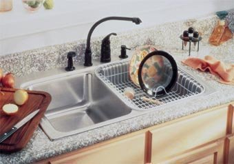 Elkay LRAD3322403 3-Hole Double Basin Top-Mount from the Gourmet Lustertone Series Stainless Steel Kitchen Sink ()
