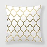 Lightinglife Cushion Pillow For Sofa Geometric Pattern Cotton Throw Quatrefoil Pattern Elegant 20 By 20 Pillow Cover