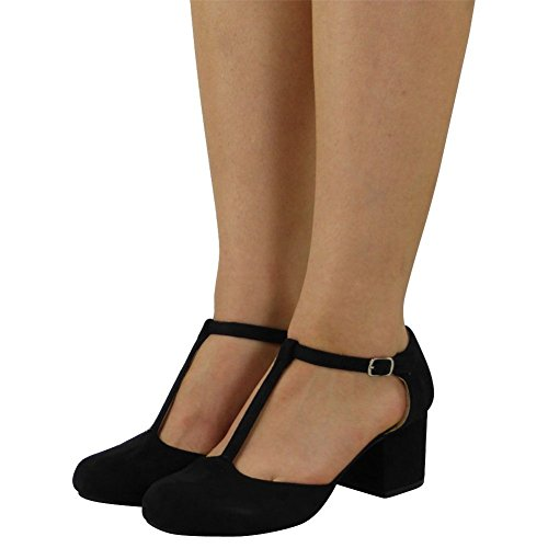 Womens Ladies T-Bar Buckle Strap Office Work Comfy Low Mid Heel Court Shoes Size 3-8 Black Suede He1eBQPA